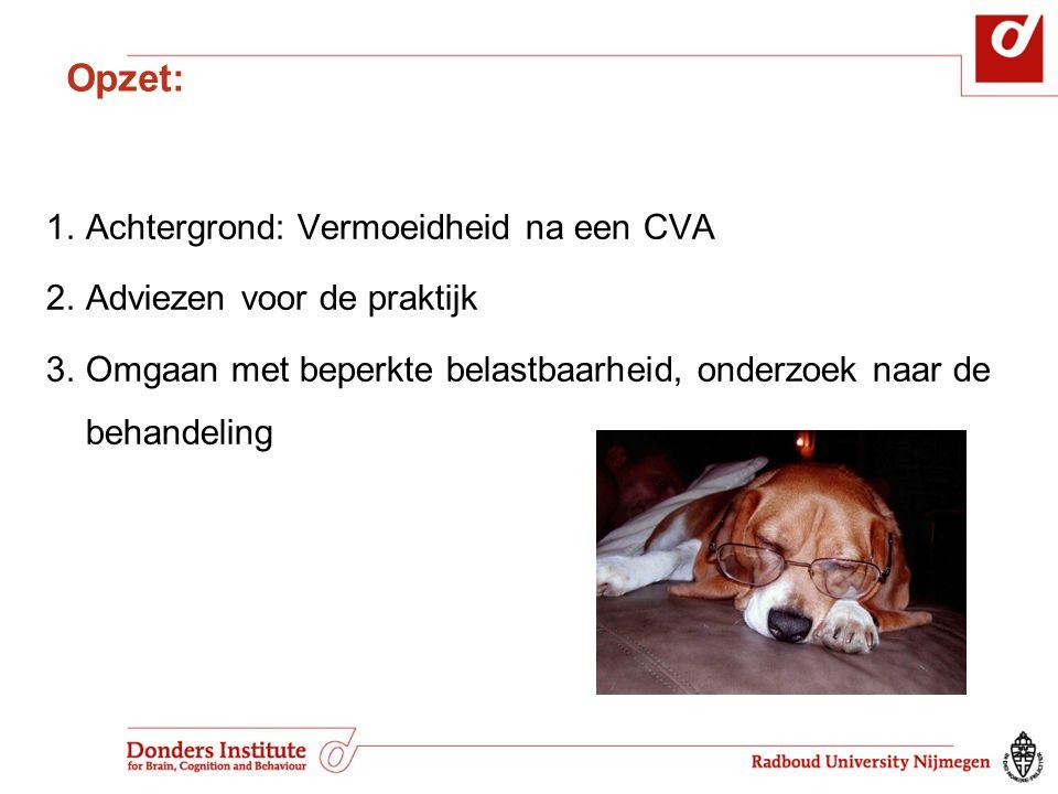 Opzet: Achtergrond: Vermoeidheid na een CVA Adviezen voor de praktijk