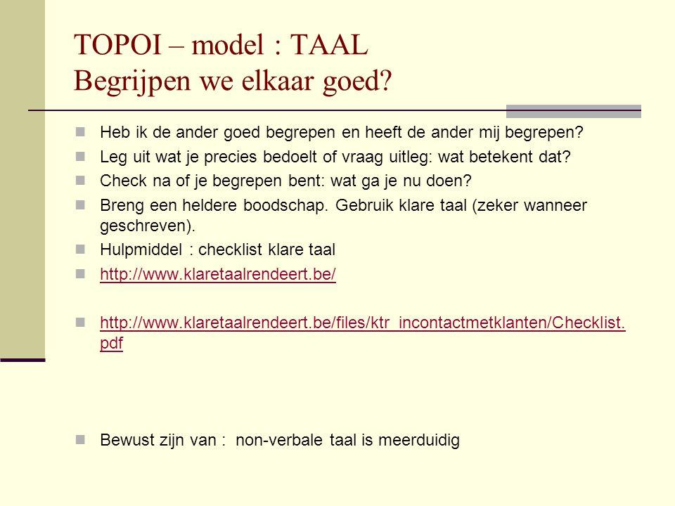 TOPOI – model : TAAL Begrijpen we elkaar goed