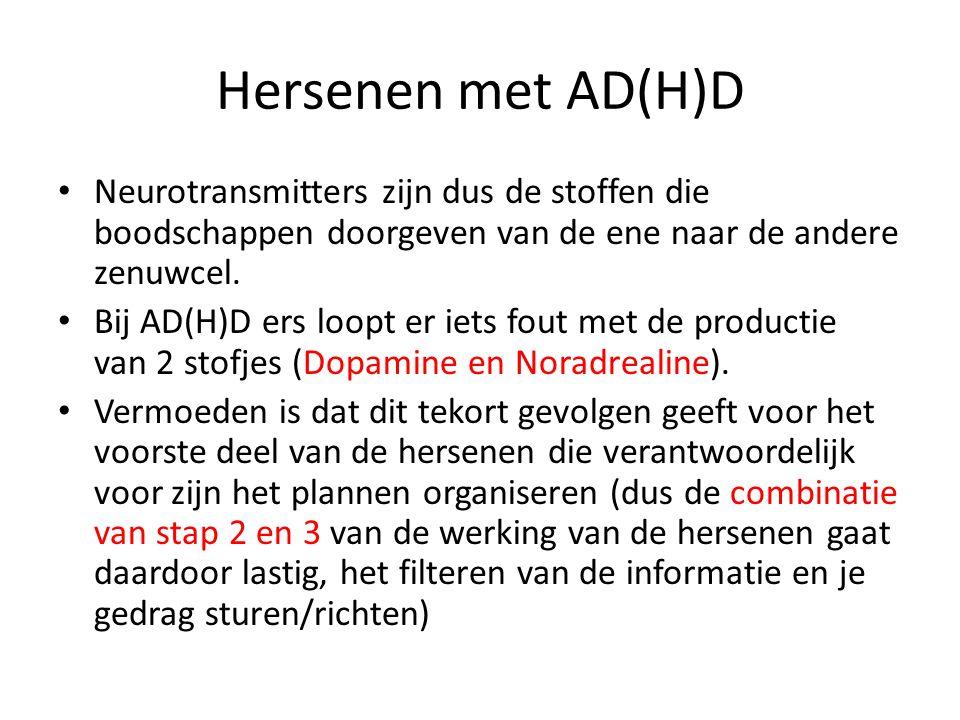Hersenen met AD(H)D Neurotransmitters zijn dus de stoffen die boodschappen doorgeven van de ene naar de andere zenuwcel.