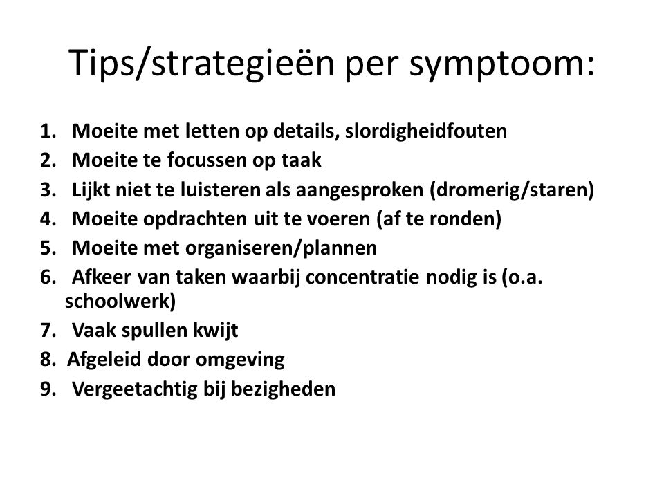 Tips/strategieën per symptoom:
