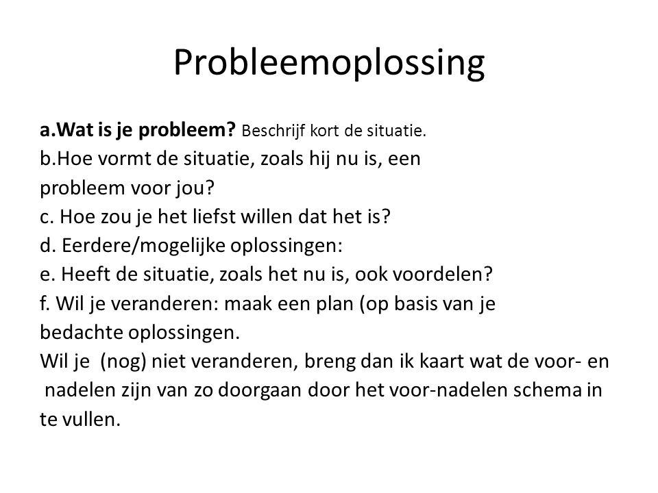 Probleemoplossing a.Wat is je probleem Beschrijf kort de situatie.