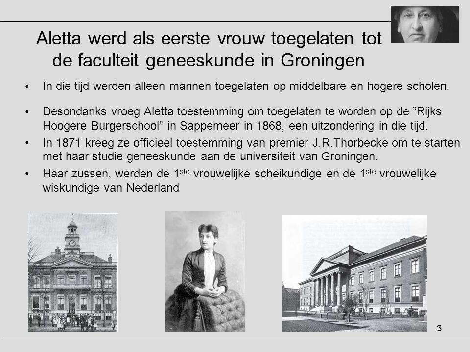 Aletta werd als eerste vrouw toegelaten tot de faculteit geneeskunde in Groningen