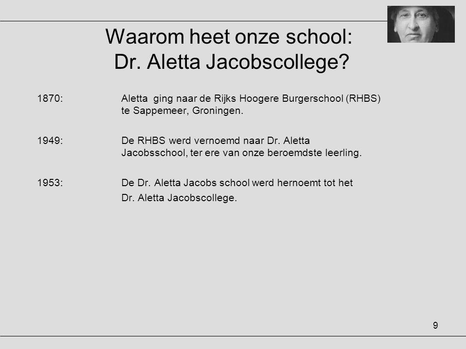 Waarom heet onze school: Dr. Aletta Jacobscollege