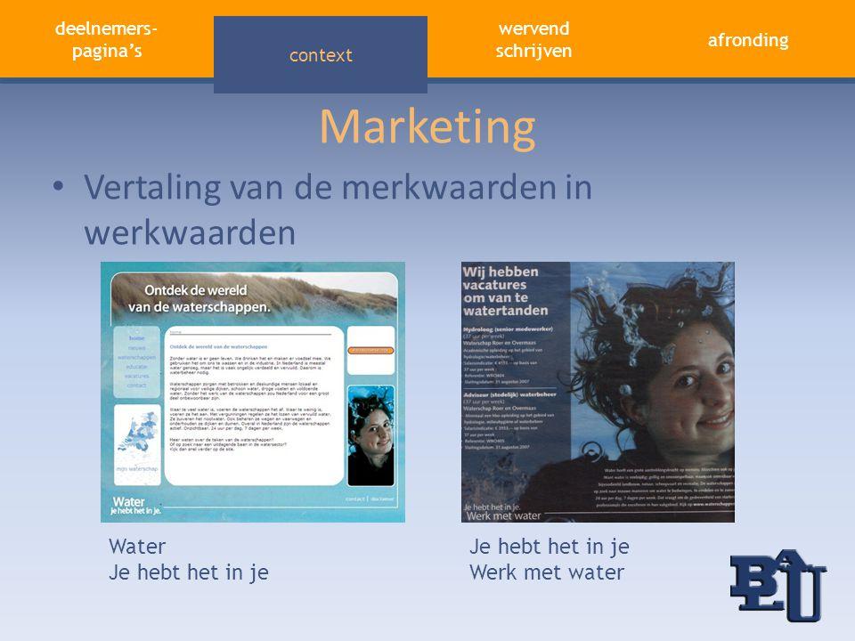 Marketing Vertaling van de merkwaarden in werkwaarden Water