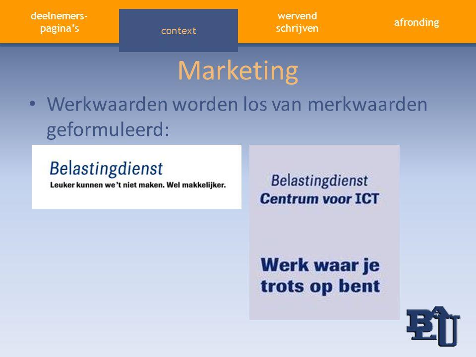 Marketing Werkwaarden worden los van merkwaarden geformuleerd:
