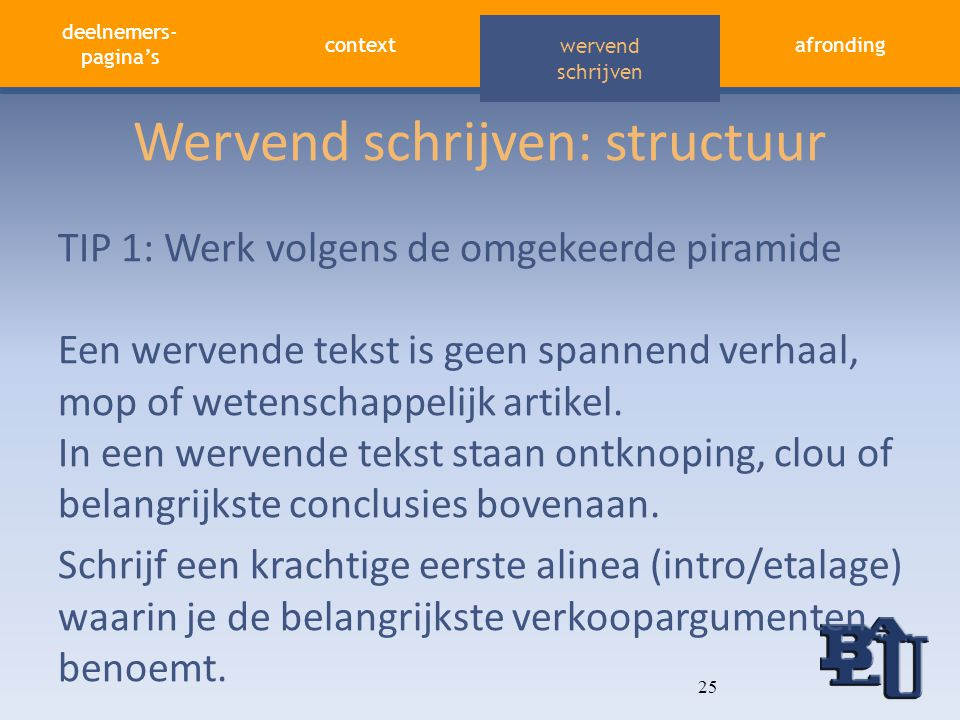 Wervend schrijven: structuur