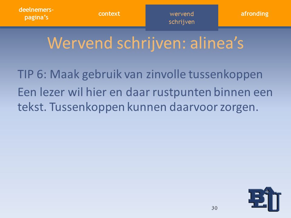 Wervend schrijven: alinea's