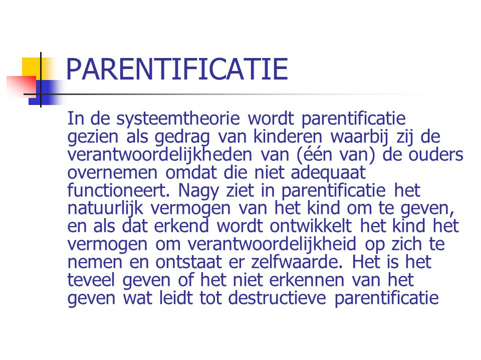 PARENTIFICATIE