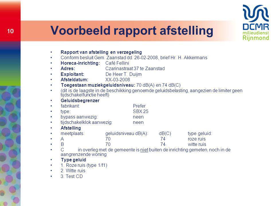 Voorbeeld rapport afstelling