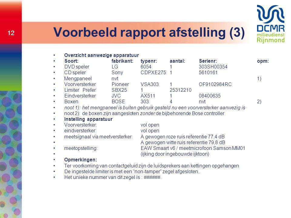 Voorbeeld rapport afstelling (3)