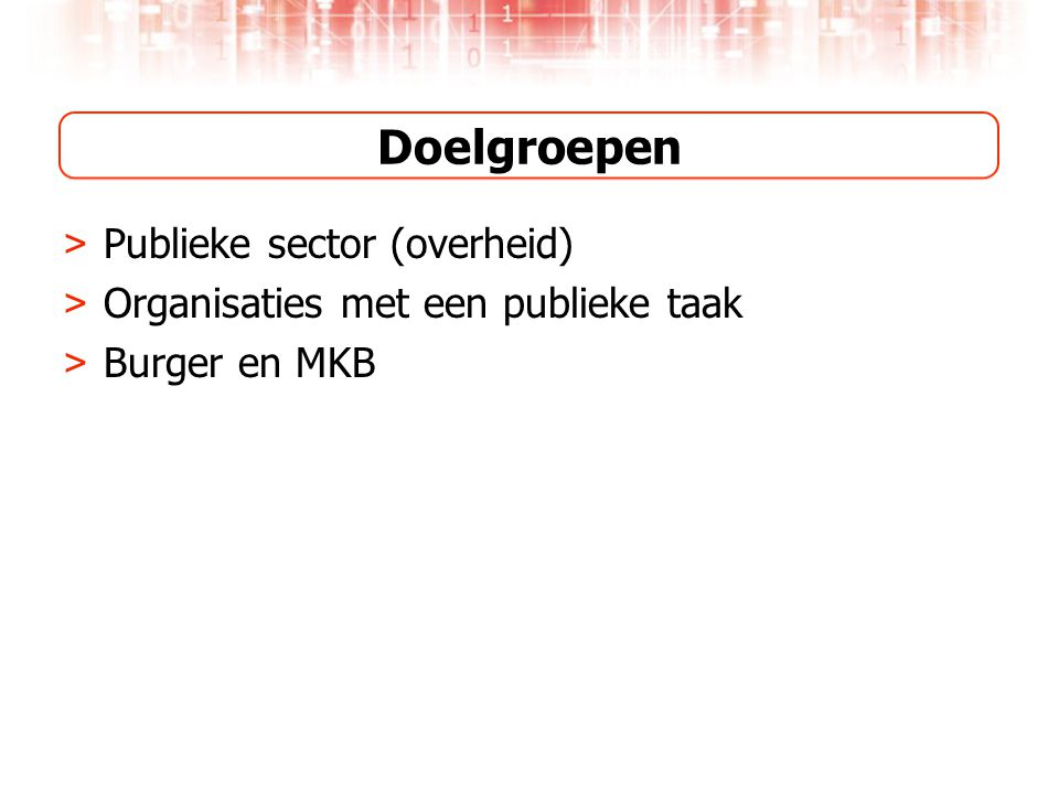 Doelgroepen Publieke sector (overheid)