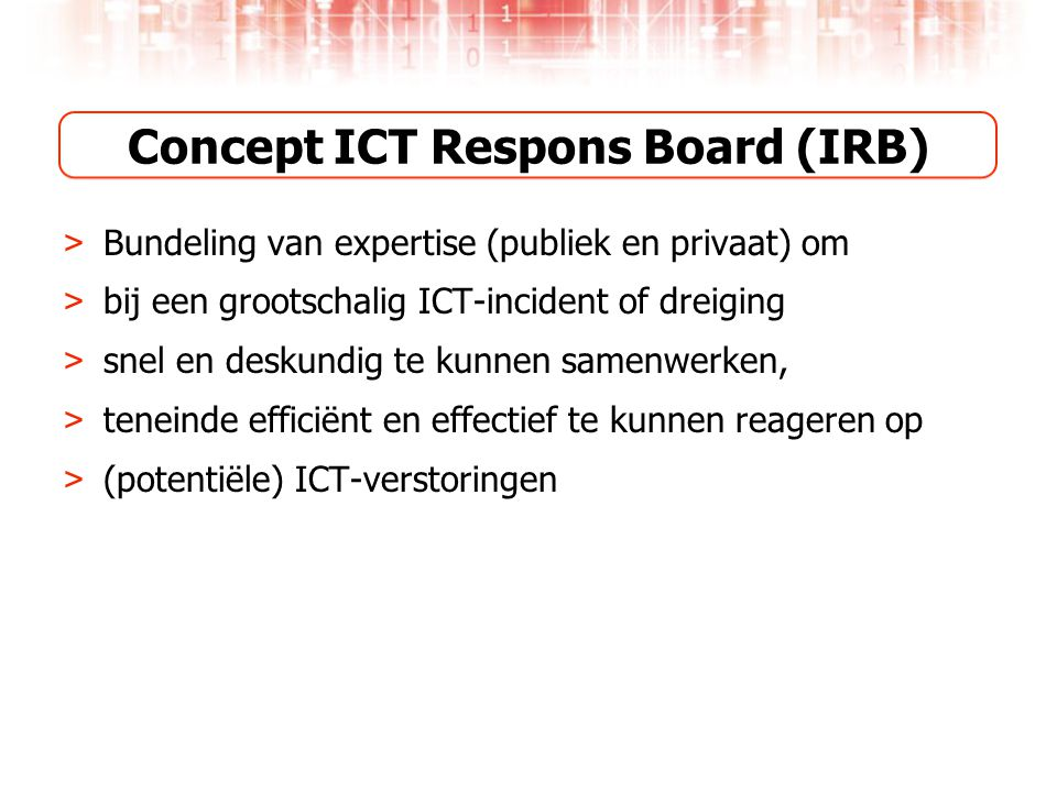 Concept ICT Respons Board (IRB)