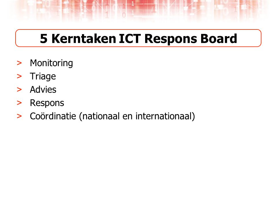 5 Kerntaken ICT Respons Board