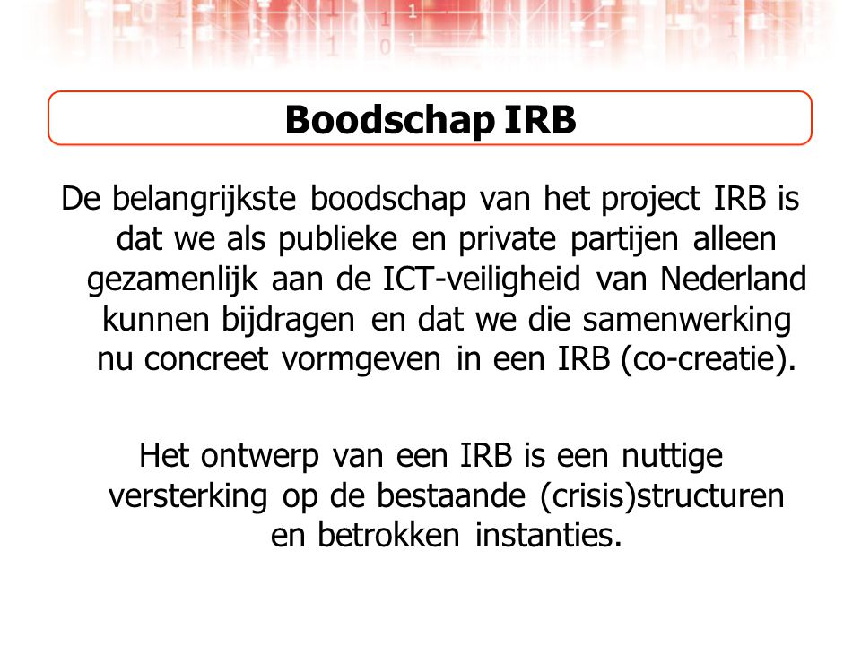 Boodschap IRB