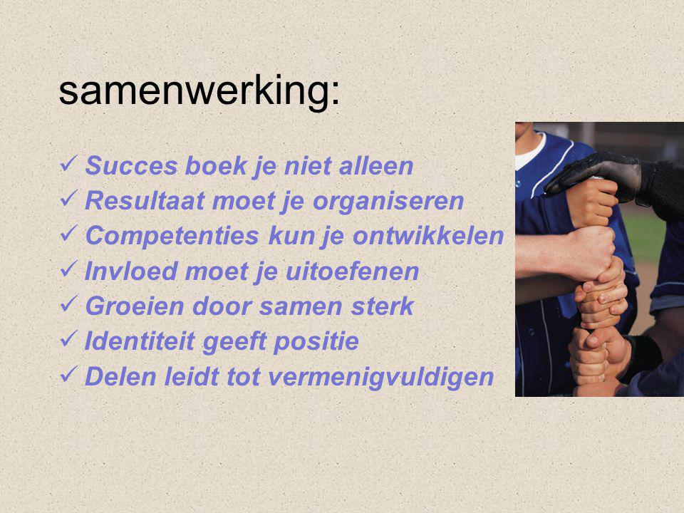 samenwerking: Succes boek je niet alleen Resultaat moet je organiseren