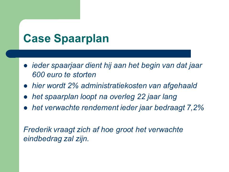 Case Spaarplan ieder spaarjaar dient hij aan het begin van dat jaar 600 euro te storten. hier wordt 2% administratiekosten van afgehaald.