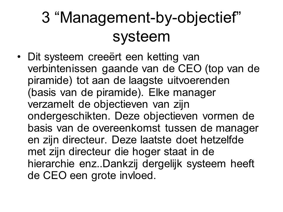 3 Management-by-objectief systeem
