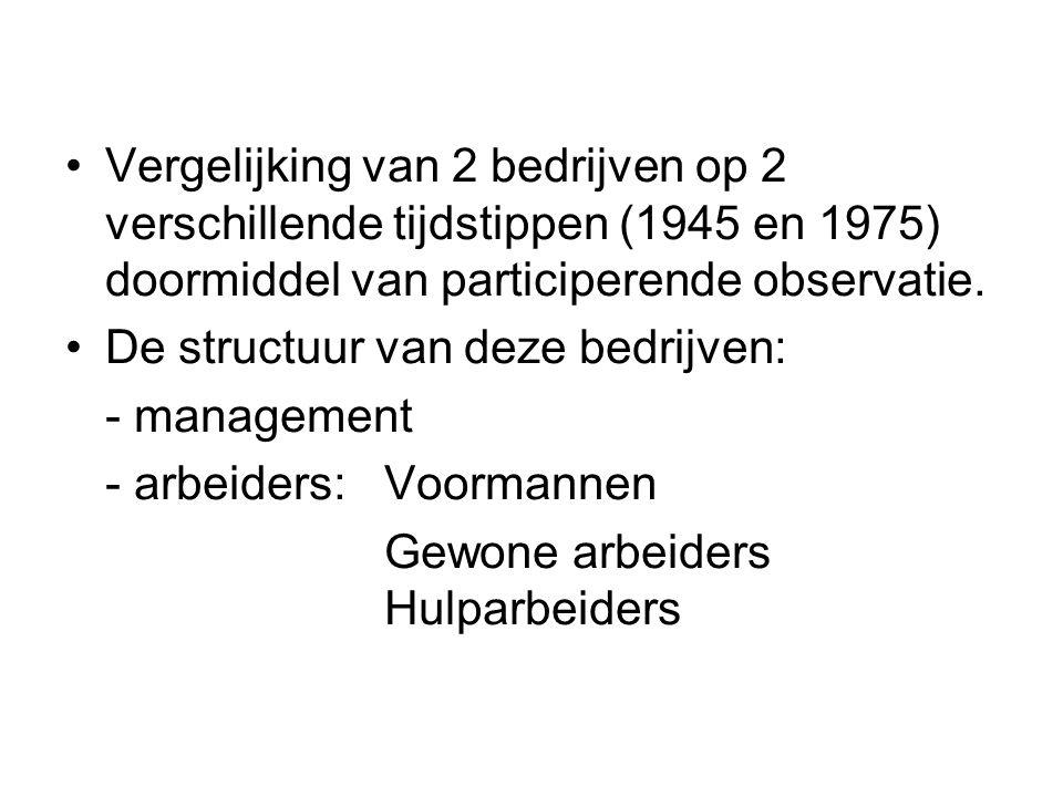 Vergelijking van 2 bedrijven op 2 verschillende tijdstippen (1945 en 1975) doormiddel van participerende observatie.