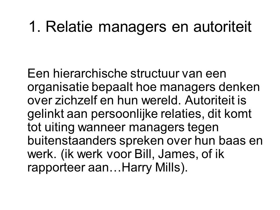 1. Relatie managers en autoriteit