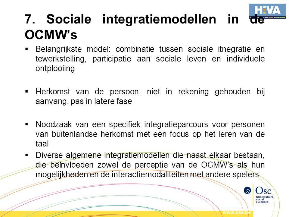 7. Sociale integratiemodellen in de OCMW's