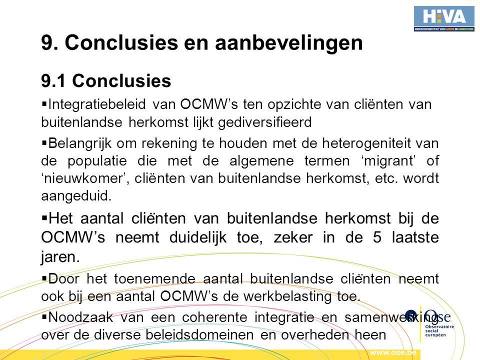 9. Conclusies en aanbevelingen