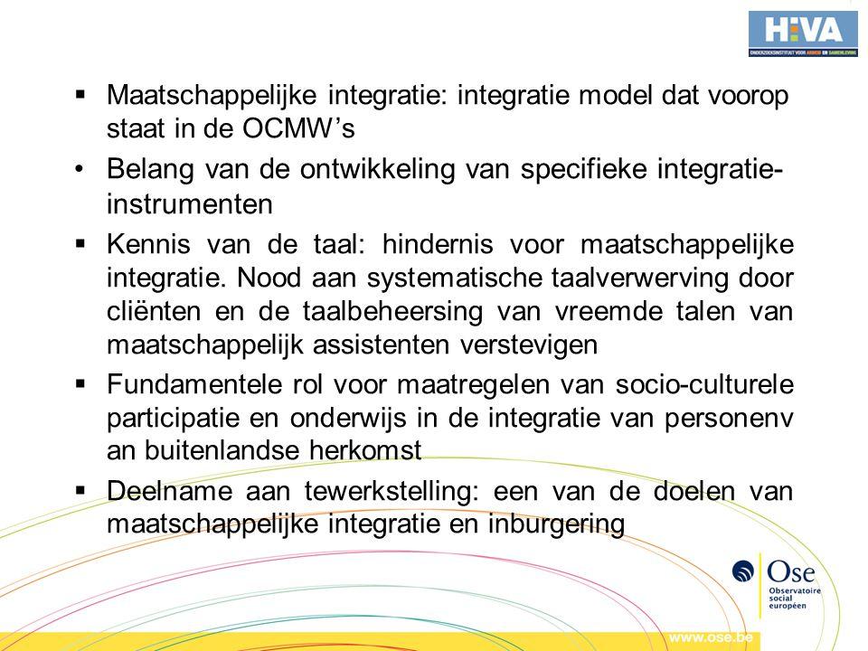 Belang van de ontwikkeling van specifieke integratie-instrumenten