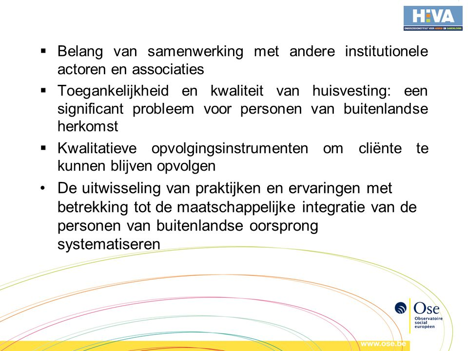 Belang van samenwerking met andere institutionele actoren en associaties