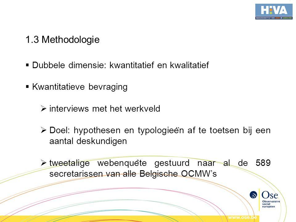 1.3 Methodologie Dubbele dimensie: kwantitatief en kwalitatief