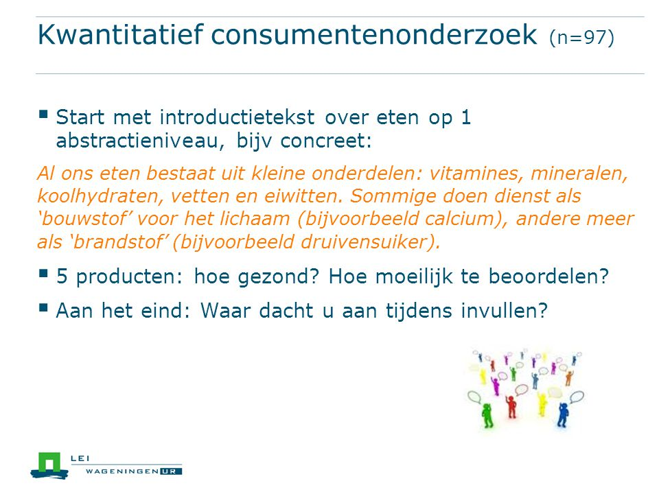 Kwantitatief consumentenonderzoek (n=97)