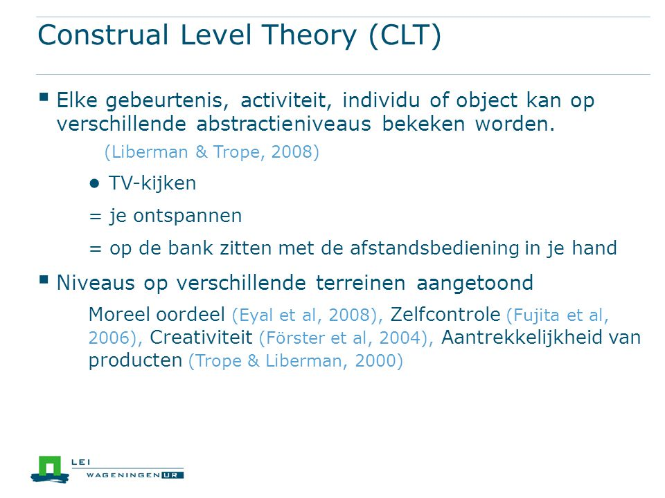 Construal Level Theory (CLT)