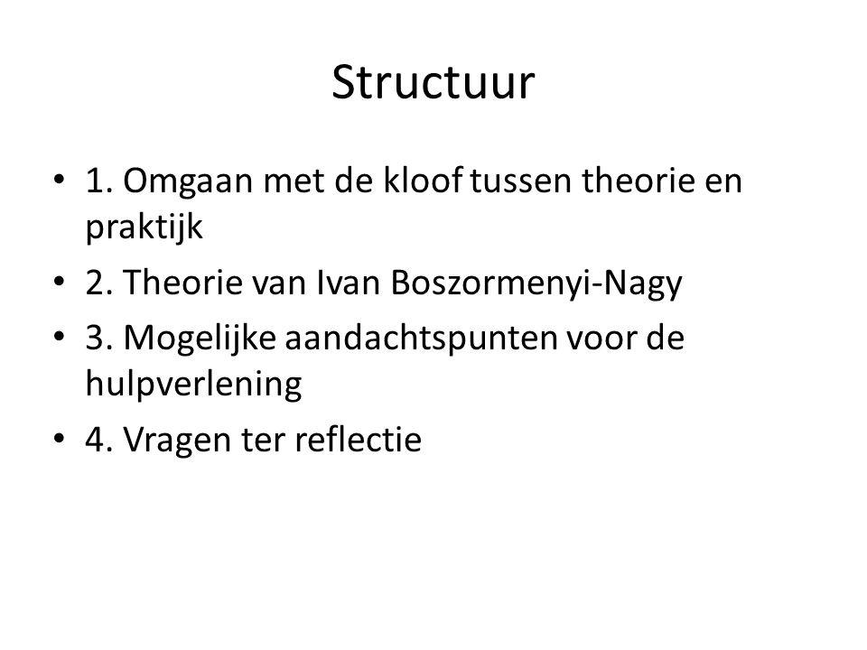 Structuur 1. Omgaan met de kloof tussen theorie en praktijk