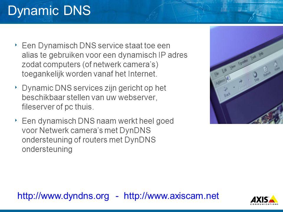 Dynamic DNS http://www.dyndns.org - http://www.axiscam.net