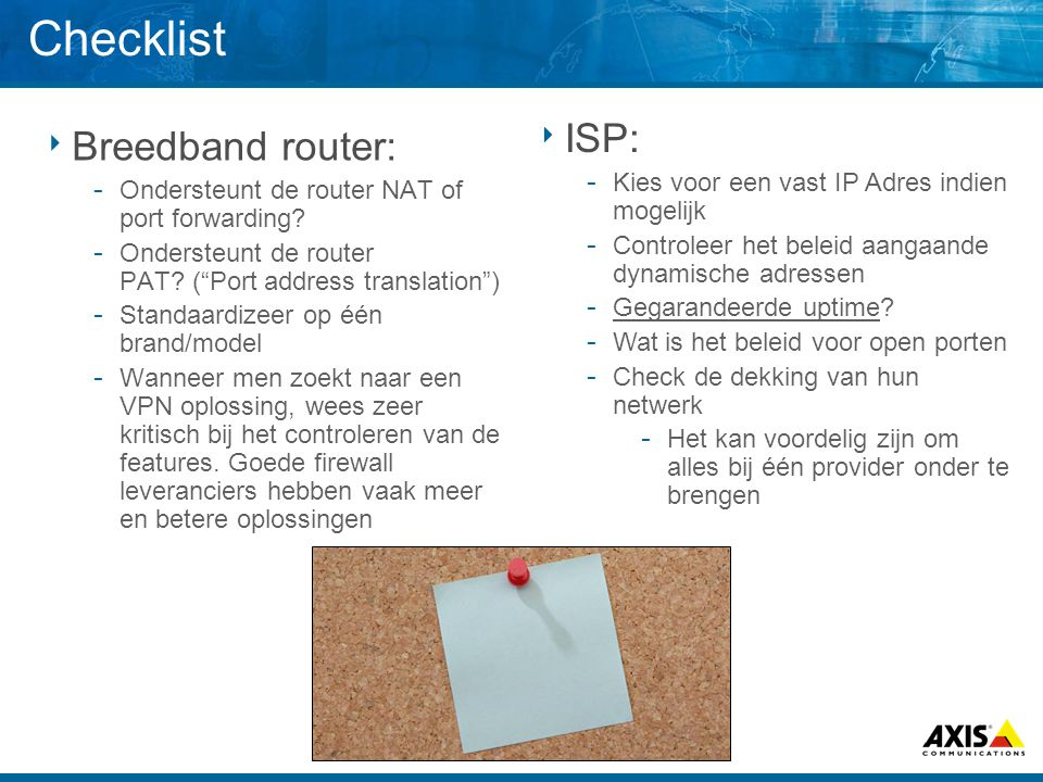 Checklist ISP: Breedband router: