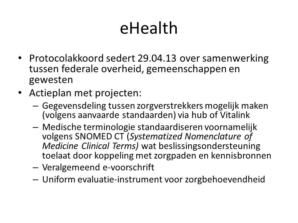 eHealth Protocolakkoord sedert 29.04.13 over samenwerking tussen federale overheid, gemeenschappen en gewesten.