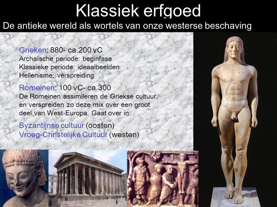 Klassiek erfgoed De antieke wereld als wortels van onze westerse beschaving. Grieken: 880- ca.200 vC.