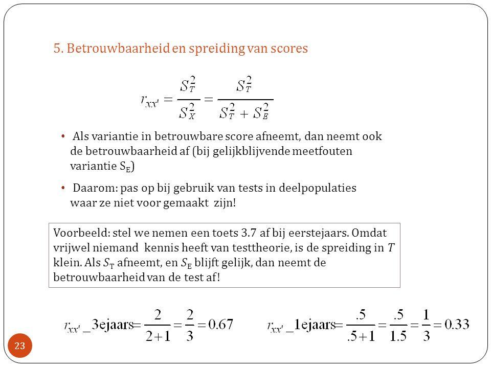 5. Betrouwbaarheid en spreiding van scores