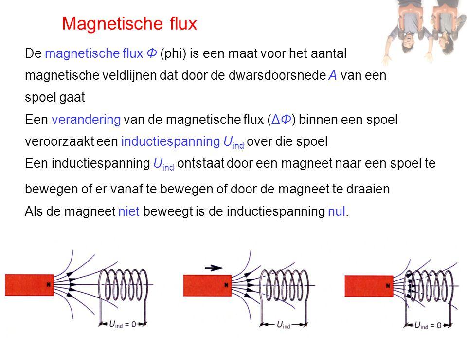 Magnetische flux De magnetische flux Φ (phi) is een maat voor het aantal. magnetische veldlijnen dat door de dwarsdoorsnede A van een.