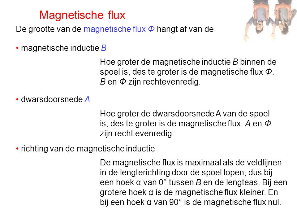 Magnetische flux De grootte van de magnetische flux Φ hangt af van de