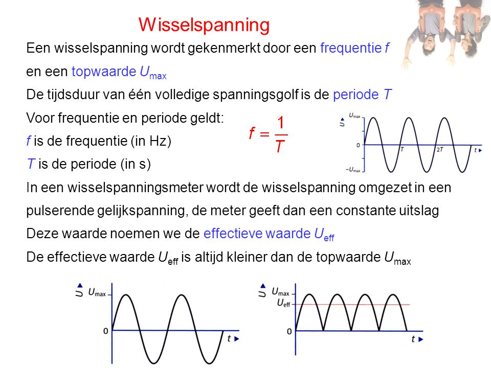 Wisselspanning Een wisselspanning wordt gekenmerkt door een frequentie f. en een topwaarde Umax.