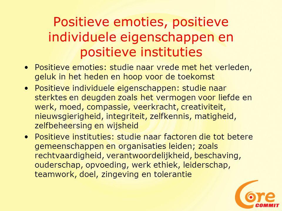 Positieve emoties, positieve individuele eigenschappen en positieve instituties
