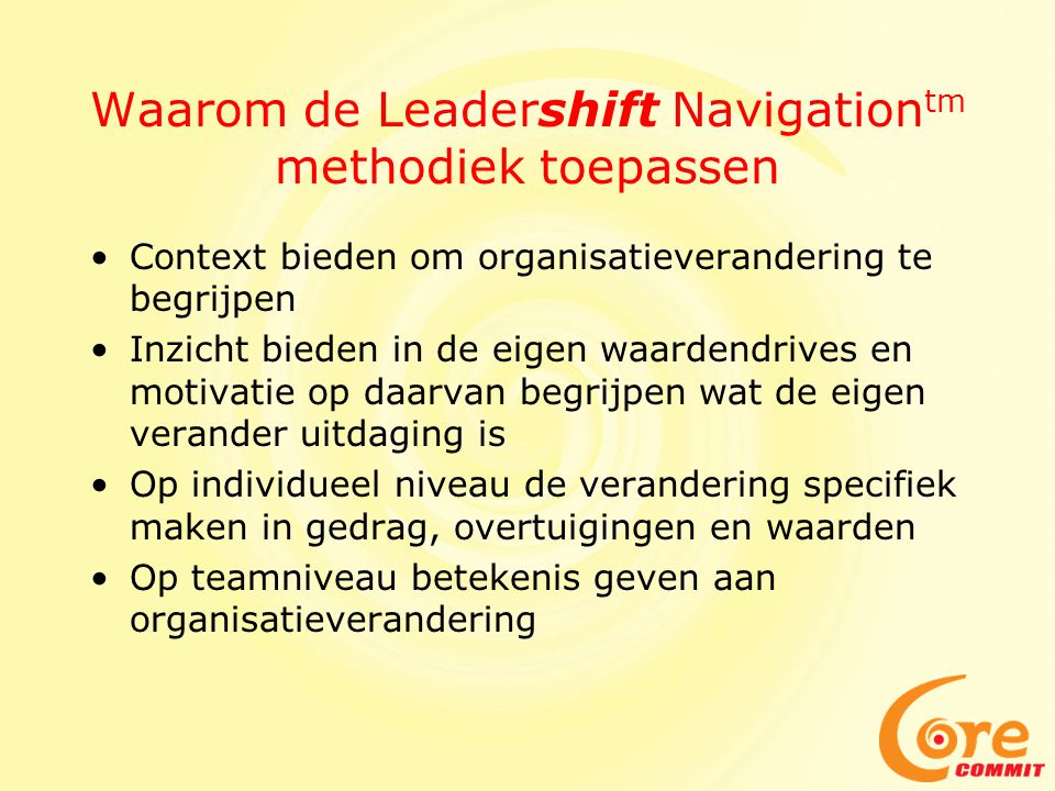 Waarom de Leadershift Navigationtm methodiek toepassen