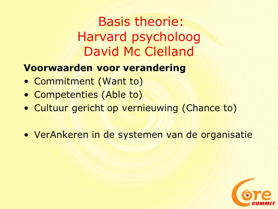 Basis theorie: Harvard psycholoog David Mc Clelland