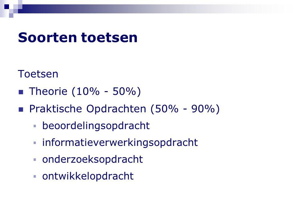 Soorten toetsen Toetsen Theorie (10% - 50%)