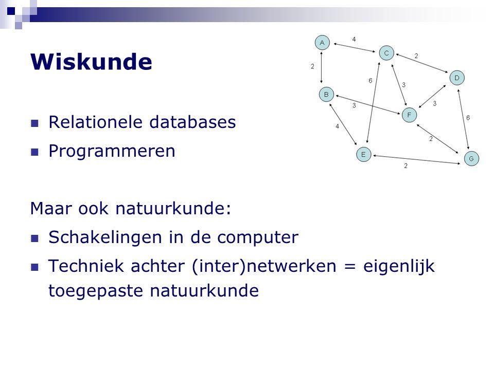 Wiskunde Relationele databases Programmeren Maar ook natuurkunde: