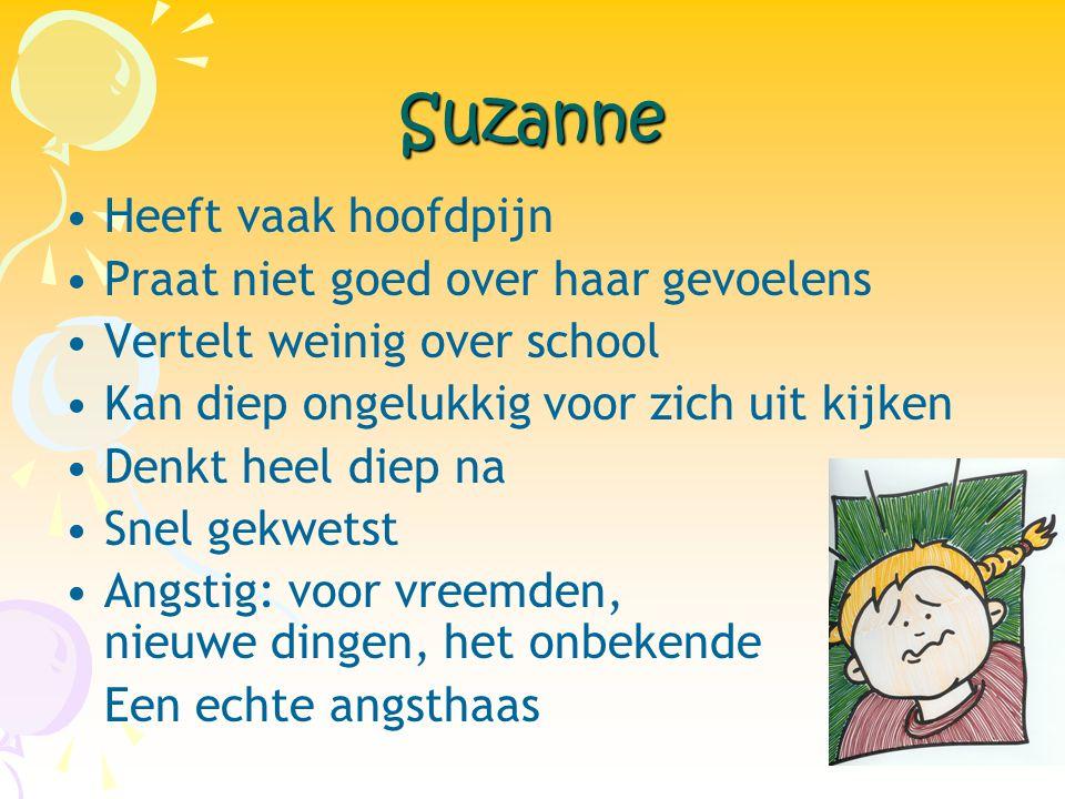 Suzanne Heeft vaak hoofdpijn Praat niet goed over haar gevoelens