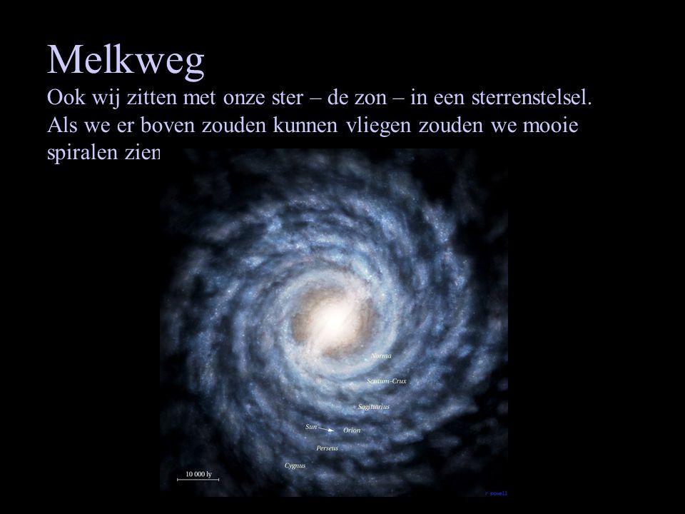 Melkweg Ook wij zitten met onze ster – de zon – in een sterrenstelsel.