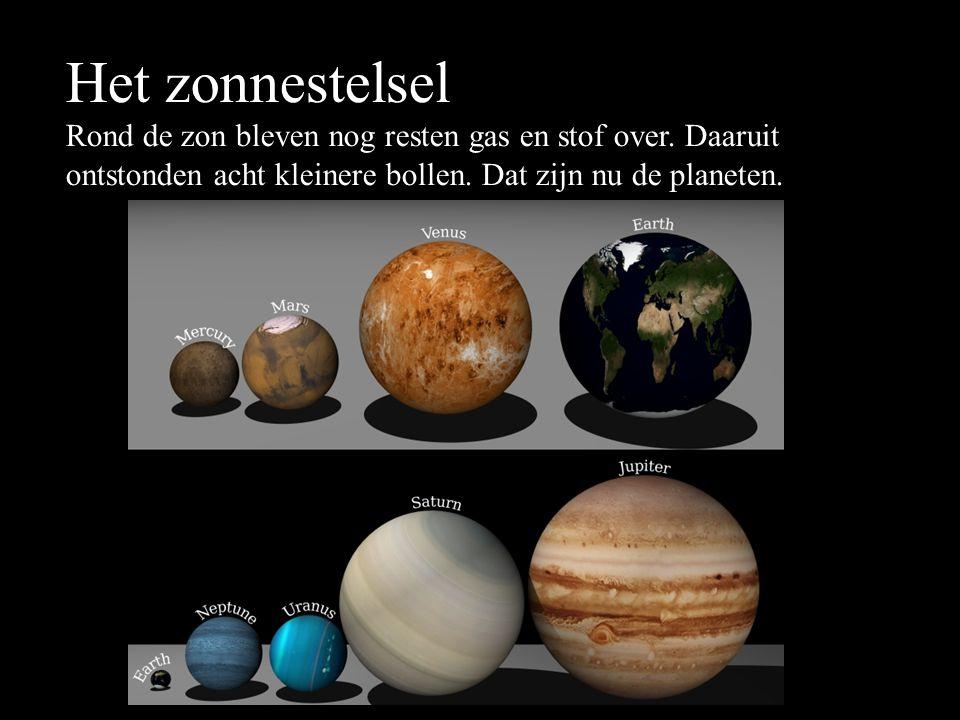 Het zonnestelsel Rond de zon bleven nog resten gas en stof over.