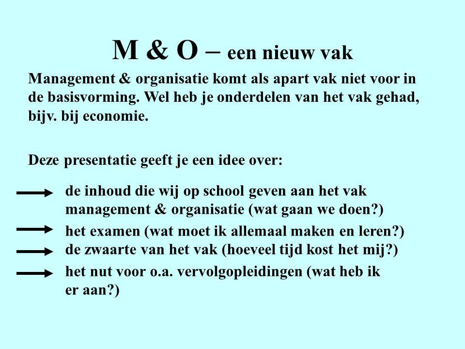 M & O – een nieuw vak