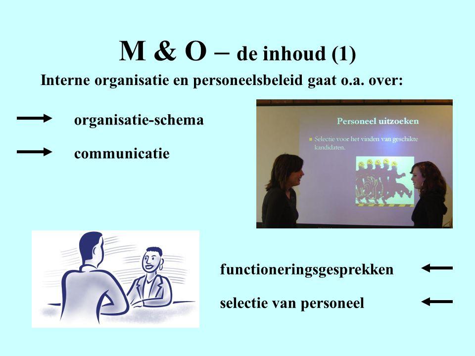 M & O – de inhoud (1) Interne organisatie en personeelsbeleid gaat o.a. over: organisatie-schema. communicatie.