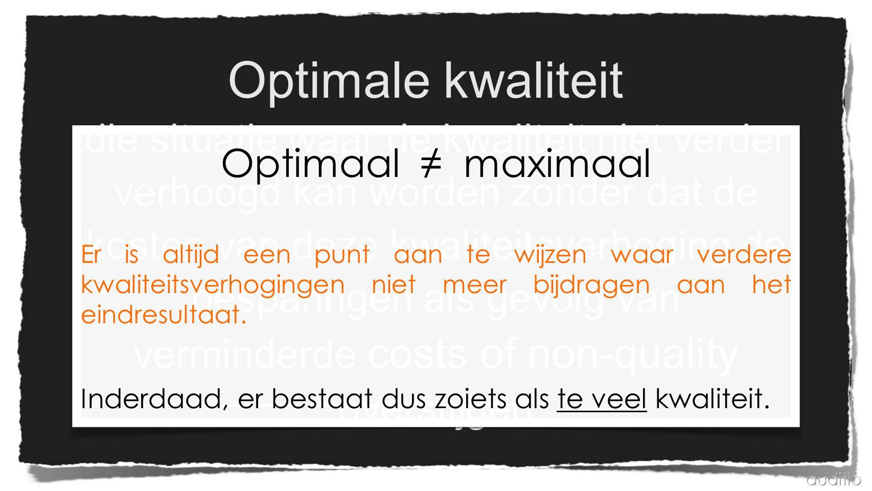 Optimale kwaliteit Optimaal ≠ maximaal.